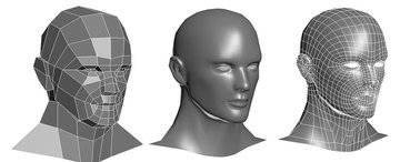 Polygons of a model are shaped using various tools to form a final model