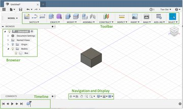 The Fusion 360 interface.