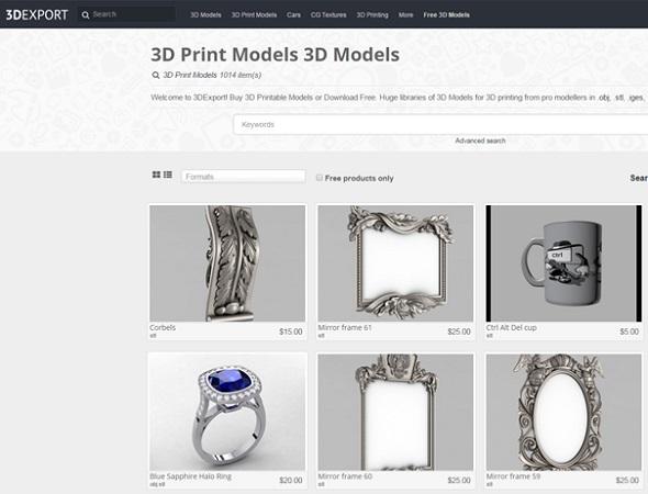 3D Export is a 3D model database for premium designs.