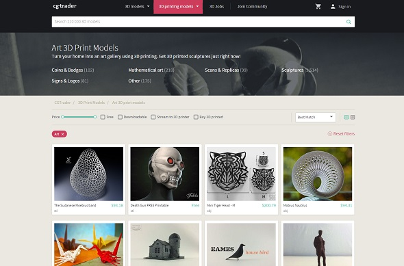 CGTrader offers a website section that focuses on 3D printable models only.