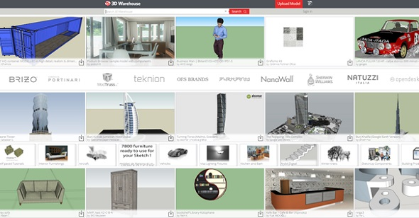 Geometric 3D models can be downloaded at SketchUp's 3D Warehouse.