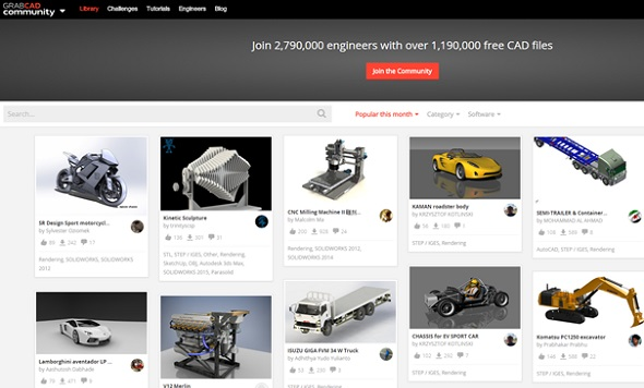 GrabCAD is all about downloading technical 3D models.