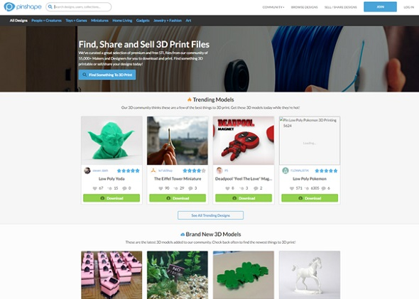 Pinshape is a popular database for 3D printables files.